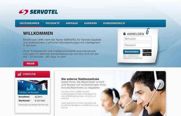 Vorschau von www.servotel.com, Servotel Call Center Dienstleistungen GmbH