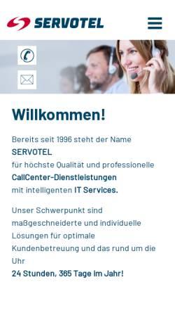 Vorschau der mobilen Webseite www.servotel.com, Servotel Call Center Dienstleistungen GmbH