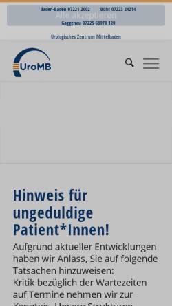 Vorschau der mobilen Webseite www.urologie-bb.de, Urologie Baden-Baden