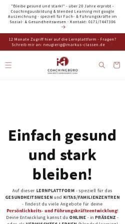 Vorschau der mobilen Webseite www.campus-pflege.de, Coachingbüro Sinn meets Management