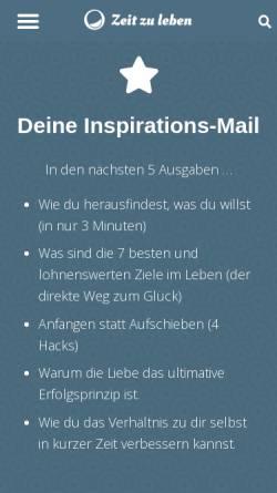 Vorschau der mobilen Webseite www.zeitzuleben.de, Zeit zu leben - Tania Konnerth & Ralf Senftleben GbR