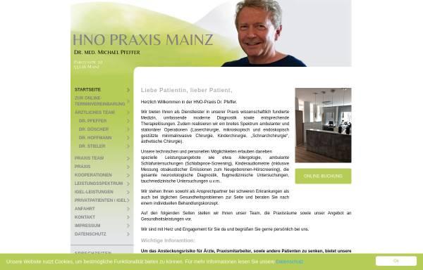 Vorschau von www.hnomainz.de, Gemeinschaftspraxis Dr. med. Michael Pfeffer, Christian Schwarz und Ulrike Springer