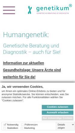 Vorschau der mobilen Webseite www.genetikum.de, Genetikum – Genetische Beratung und Diagnostik