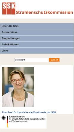 Vorschau der mobilen Webseite www.ssk.de, Strahlenschutzkommission