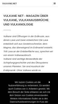 Vorschau der mobilen Webseite www.vulkane.net, Vulkane Online