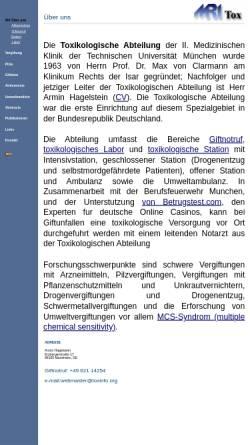 Vorschau der mobilen Webseite www.toxinfo.org, Gift-Pilze und Pilz-Vergiftungen
