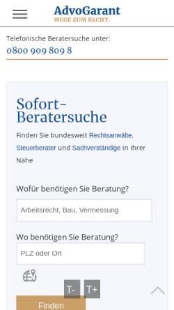 Vorschau der mobilen Webseite advogarant.de, AdvoGarant
