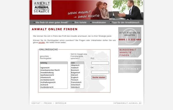 Vorschau von www.anwalt-auswahl.de, Anwaltauswahlservice, Thomas Arndt