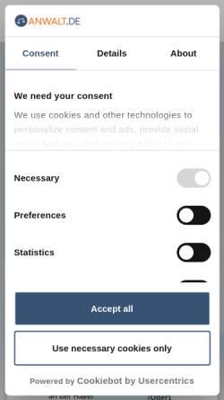 Vorschau der mobilen Webseite www.anwalt.de, anwalt.de services AG