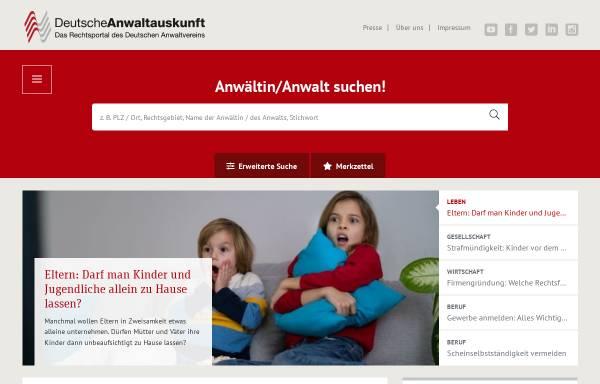 Vorschau von www.anwaltauskunft.de, Deutsche Anwaltauskunft