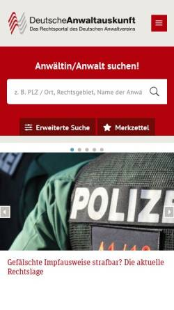 Vorschau der mobilen Webseite www.anwaltauskunft.de, Deutsche Anwaltauskunft
