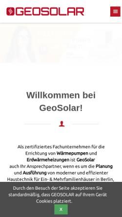 Vorschau der mobilen Webseite www.geosolar.de, GeoSolar Energietechnik GmbH