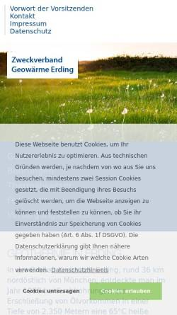 Vorschau der mobilen Webseite www.geowaerme-erding.de, Geothermie: Fernwärme in Erding