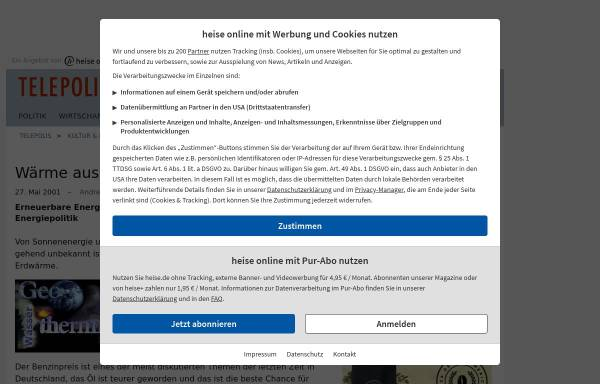 Vorschau von www.heise.de, Wärme aus der Erde heizt ein