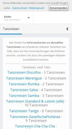 Vorschau der mobilen Webseite www.dance-holidays.de, Dance-Holidays.de