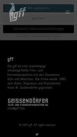 Vorschau der mobilen Webseite www.geissendoerfer-film.de, Geißendörfer Film- und Fernsehproduktion GmbH