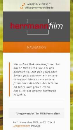 Vorschau der mobilen Webseite www.herrmannfilm.de, Konrad Herrmann Film- und Fernsehproduktion Berlin