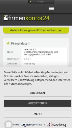 Vorschau der mobilen Webseite www.learnact-gmbh.de, LearnAct! GmbH