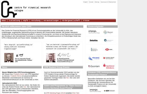 Vorschau von www.cfr-cologne.de, CFR Centre for Financial Research der Universität Köln