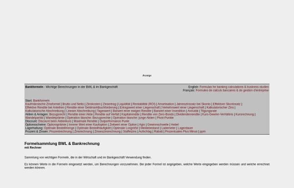 Vorschau von jumk.de, Formeln für das Bankgeschäft