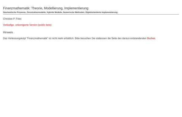 Vorschau von www.christian-fries.de, Vorlesungsskript Finanzmathematik
