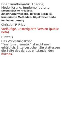 Vorschau der mobilen Webseite www.christian-fries.de, Vorlesungsskript Finanzmathematik