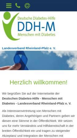 Vorschau der mobilen Webseite www.diabetes-rlp.de, DDH-M - Landesverband Rheinland-Pfalz e.V.