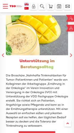 Vorschau der mobilen Webseite www.vdd.de, Verband der Diätassistenten - Deutscher Bundesverband e.V.