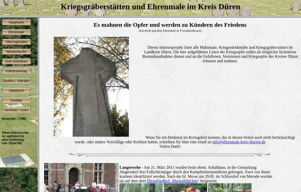 Vorschau von www.ehrenmale-kreis-dueren.de, Kriegsgräberstätten und Ehrenmale im Kreis Düren