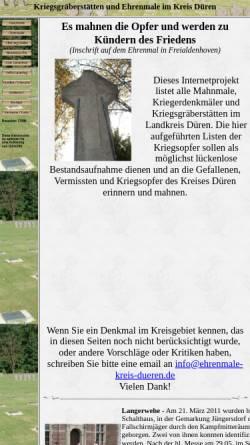 Vorschau der mobilen Webseite www.ehrenmale-kreis-dueren.de, Kriegsgräberstätten und Ehrenmale im Kreis Düren