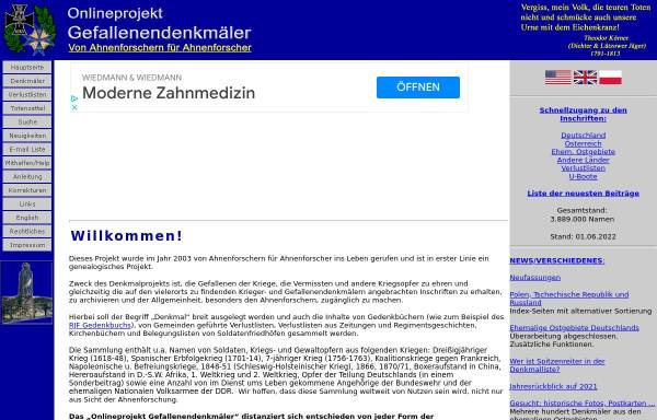 Vorschau von www.denkmalprojekt.org, Onlineprojekt Gefallenendenkmäler