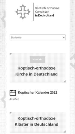Vorschau der mobilen Webseite www.kopten.de, Koptisch-Orthodoxe Kirche in Deutschland
