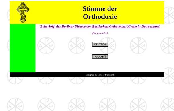 Vorschau von www.stimme-der-orthodoxie.de, Stimme der Orthodoxie