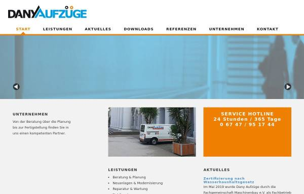 Vorschau von www.aufzuege-dany.de, Dany Aufzüge GmbH