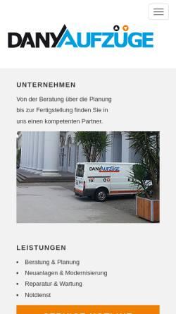 Vorschau der mobilen Webseite www.aufzuege-dany.de, Dany Aufzüge GmbH