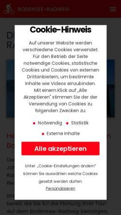 Vorschau der mobilen Webseite www.bodensee-radweg.com, Bodensee-Radweg Service GmbH