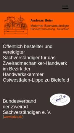 Vorschau der mobilen Webseite www.zab-triumph.de, Andreas Beier Zweiradtechnik