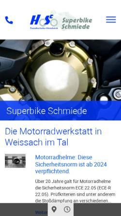 Vorschau der mobilen Webseite www.superbikeschmiede.com, Superbikeschmiede