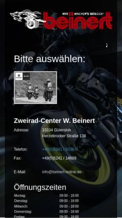 Vorschau der mobilen Webseite www.beinert-online.de, Zweirad-Center Wilfried Beinert