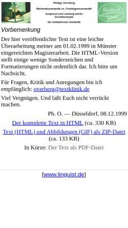 Vorschau der mobilen Webseite www.linguist.de, Merkmalssemantik vs. Prototypensemantik
