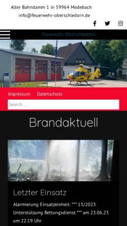 Vorschau der mobilen Webseite www.feuerwehr-oberschledorn.de, Freiwillige Feuerwehr Oberschledorn