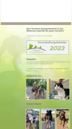 Vorschau der mobilen Webseite www.tierheim-elisabethenhof.de, Tierheim Elisabethenhof