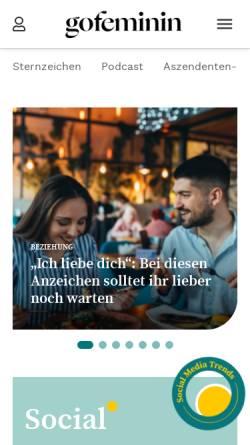 Vorschau der mobilen Webseite www.gofeminin.de, GoFeminin