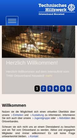 Vorschau der mobilen Webseite www.thw-neuwied.de, Bundesanstalt Technisches Hilfswerk - Ortsverband Neuwied