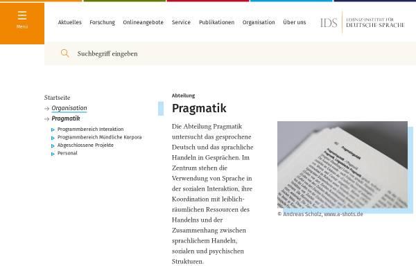 Vorschau von www.ids-mannheim.de, IDS Mannheim - Pragmatik