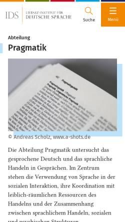 Vorschau der mobilen Webseite www.ids-mannheim.de, IDS Mannheim - Pragmatik