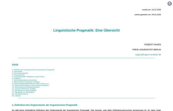 Vorschau von userpage.fu-berlin.de, Linguistische Pragmatik
