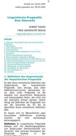 Vorschau der mobilen Webseite userpage.fu-berlin.de, Linguistische Pragmatik