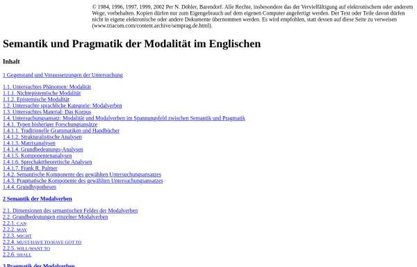 Vorschau von www.triacom.com, Per N. Döhler: Semantik und Pragmatik der Modalität im Englischen