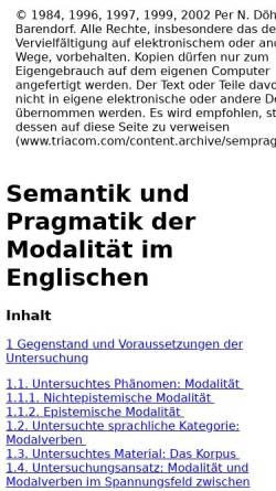 Vorschau der mobilen Webseite www.triacom.com, Per N. Döhler: Semantik und Pragmatik der Modalität im Englischen